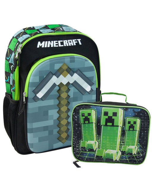 Minecraft 3D Pickaxe Backpack & Creeper Lunch Box Gift Set School Bundle