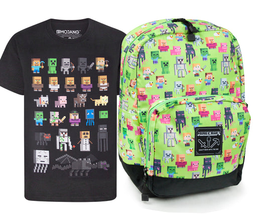 Minecraft Steve Overworld Sprites Backpack and Sprites T-Shirt Gift Set Bundle
