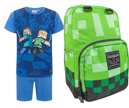 Minecraft Creeper Backpack and Surrounded Pyjamas Gift Set Bundle