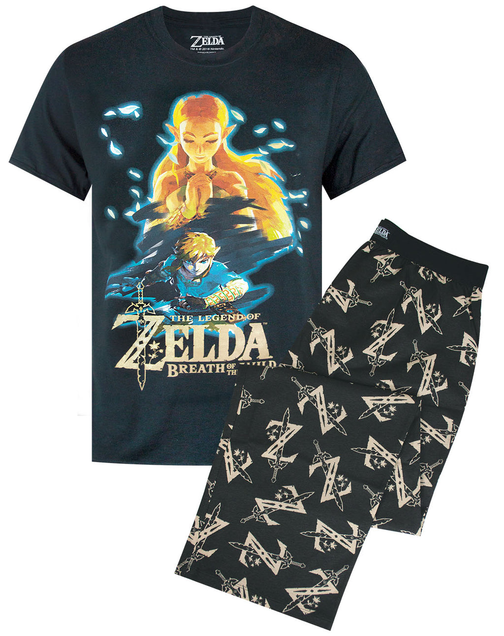 The Legend of Zelda Breath Of The Wild Mens T-Shirt and Lounge Pants Pyjama Set