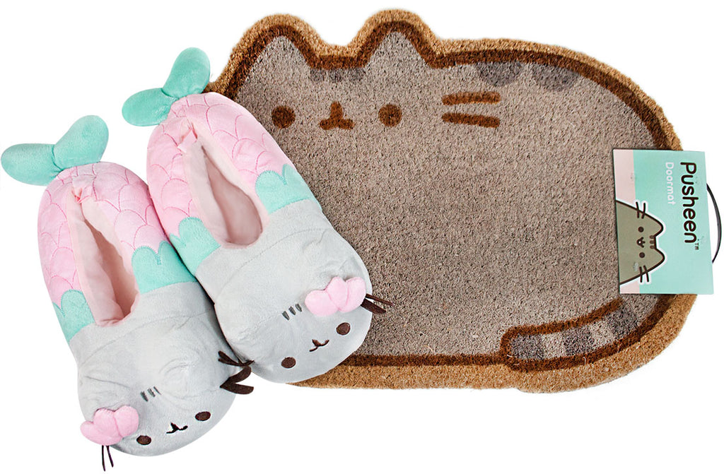 Pusheen Slippers and Door Mat Bundle Set