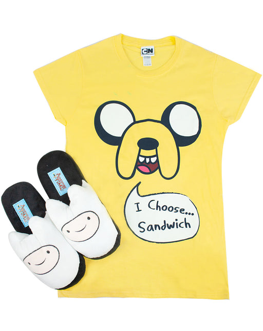 Adventure Time Jake T-Shirt and Finn Slippers Bundle Set