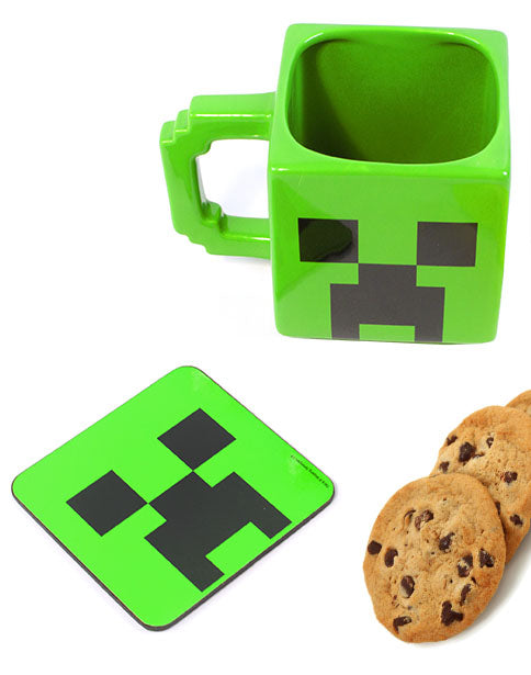 Minecraft Creeper Mug & Coaster Set - Christmas Gamer Gifts for Adults Kids