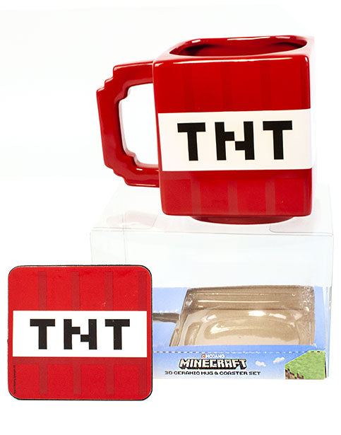 MINECRAFT TNT EXPLOSIVE MUG & COASTER – Perfect for Minecraft gamers, the red 550 ml cup and drink mat features the instantly recognisable Minecraft TNT explosive as seen in the Mojang video game, Minecraft!