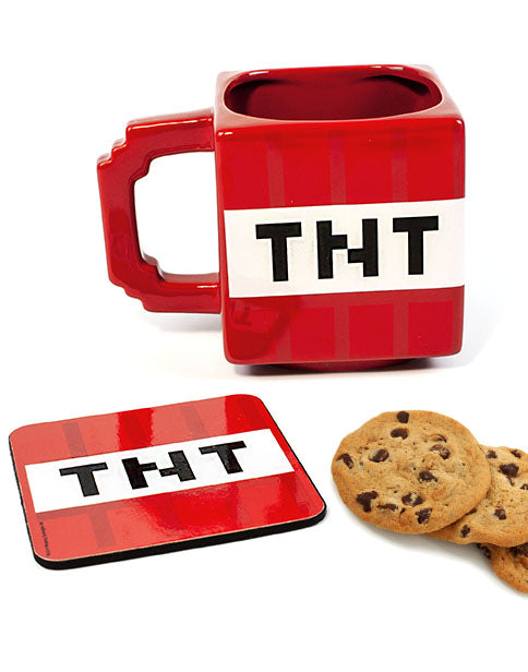 Minecraft TNT Mug & Coaster Set - Christmas Gamer Gifts for Adults and Kids