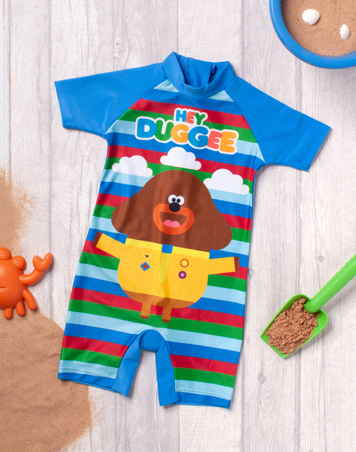 Hey Duggee Swimsuit For Boys | Kids Cbeebies Sun Safe Swimming Costume | Blue Striped All In One Bathing suit for Swimming Lessons, Beach & Pool Days