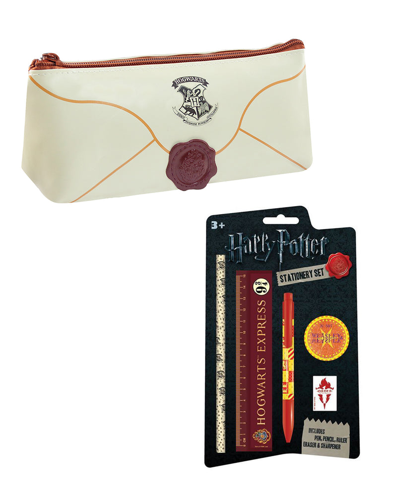 Harry Potter 5 Piece Stationary and Hogwarts Letter Pencil Case School Supplies Bundle Set
