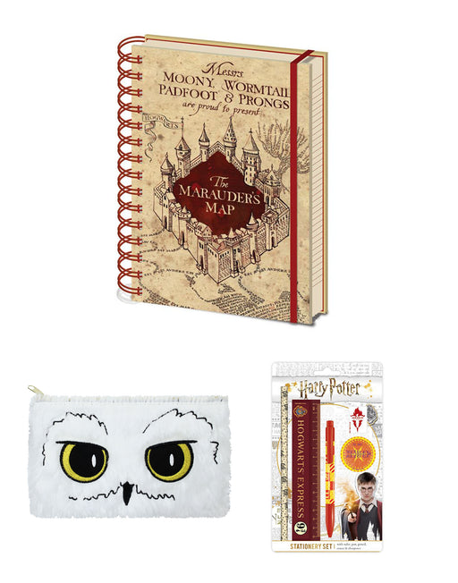 Harry Potter Hogwarts Pencil Case Stationary Marauders Map Notebook School Set
