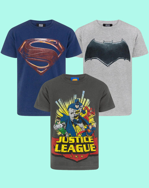 Justice League Pack of 3 Boy's T-Shirts Batman Superman Flash Green Lantern Multi-Pack
