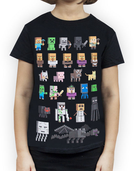 Minecraft Sprites Girl's Black Short Sleeve T-Shirt Kids Gamer Tee