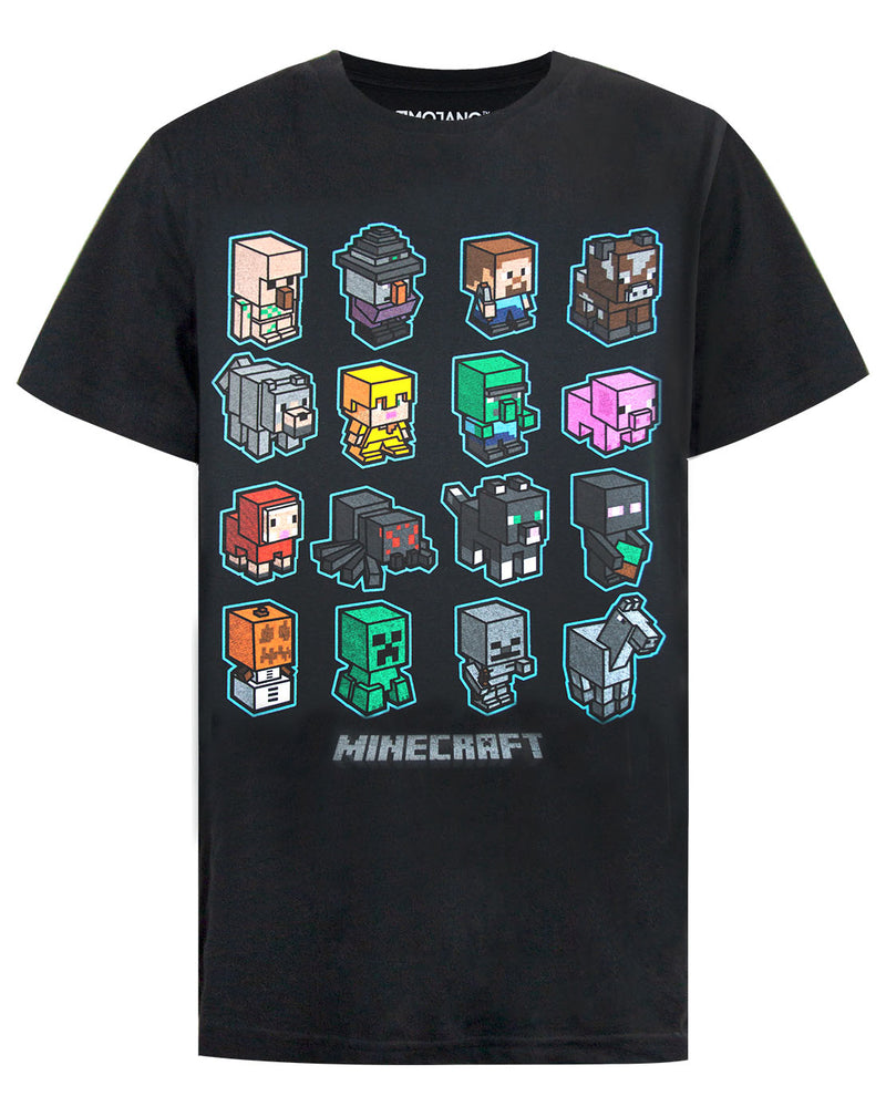 Minecraft Mini Mob Boys Black T-Shirt