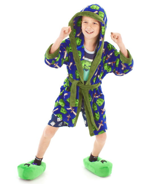 Minecraft All Over Zombie Sword Boys Bathrobe Kids Dressing Gown
