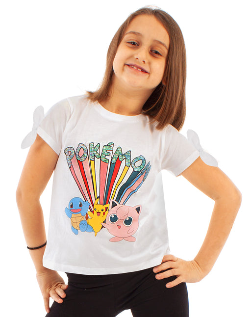 Pokemon Pikachu and Characters Girl's T-Shirt - White