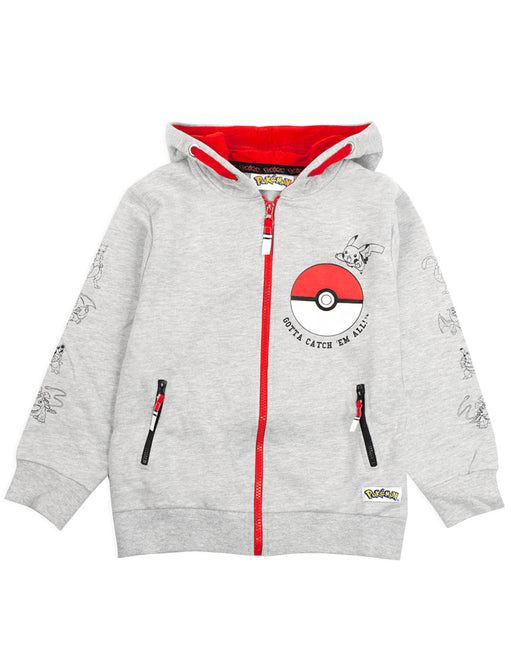 Pokemon Pokeball Boy's Grey Zip Up Hoodie