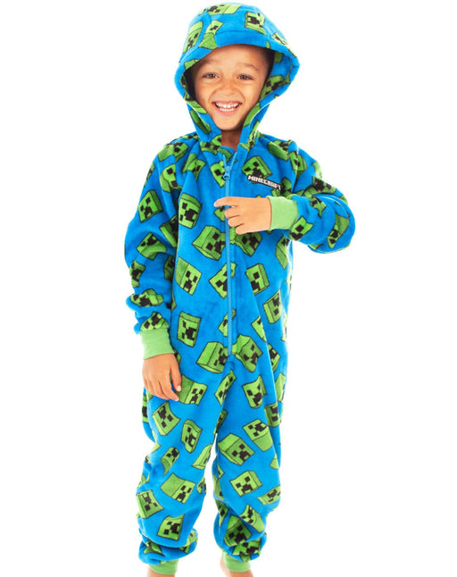 Minecraft Creeper Blue Boys Onesie