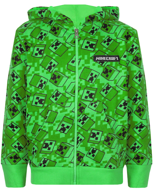 Minecraft Creeper All Over Print Boys Green Zip Up Hoodie