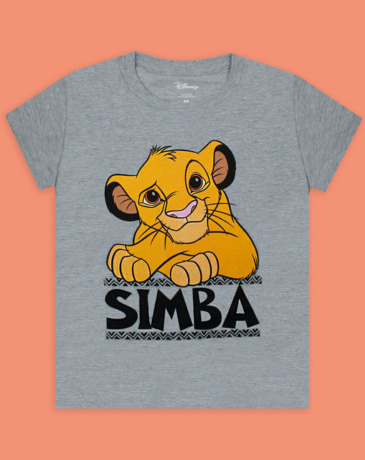 Disney Lion King Simba Boy's Grey Short Sleeve Casual T-Shirt