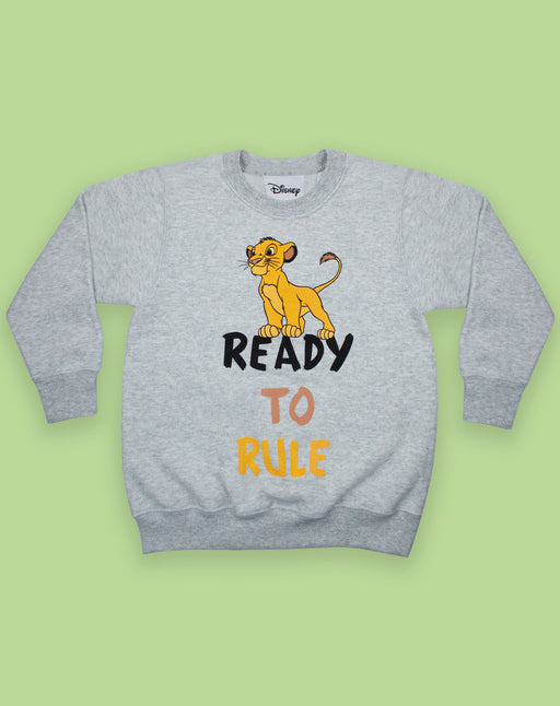 Disney Lion King Simba Ready to Rule Boy's Grey Long Sleeve Sweatshirt