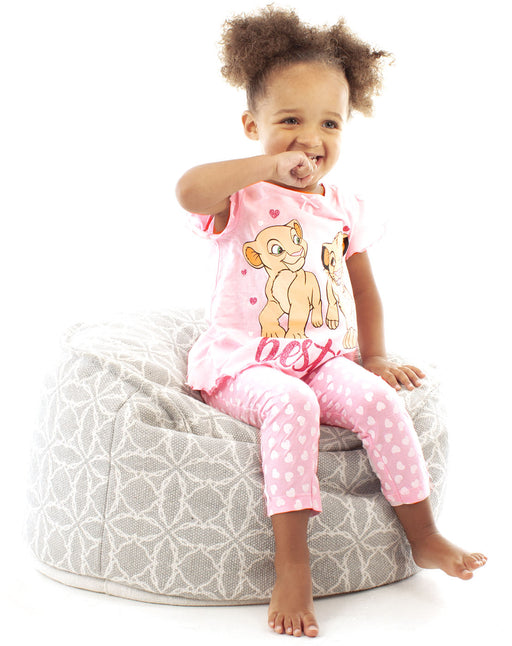 Disney Lion King Besties Simba & Nala Cubs Girls Pink Long Pyjamas