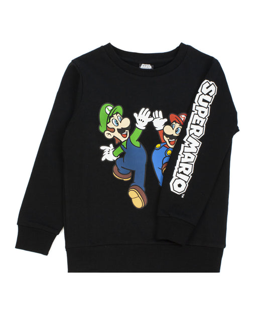 Super Mario Sweatshirt Luigi Character Gamers Black Long Sleeve Boys Jumper