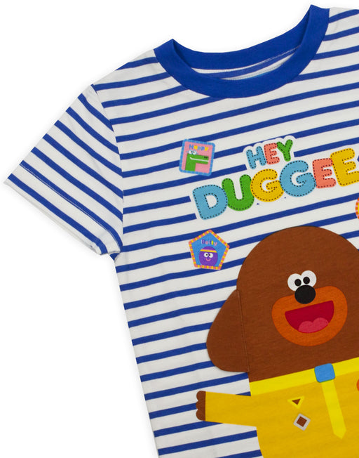 Hey Duggee Character 3D Ears Blue & White Striped Boy's T-shirt