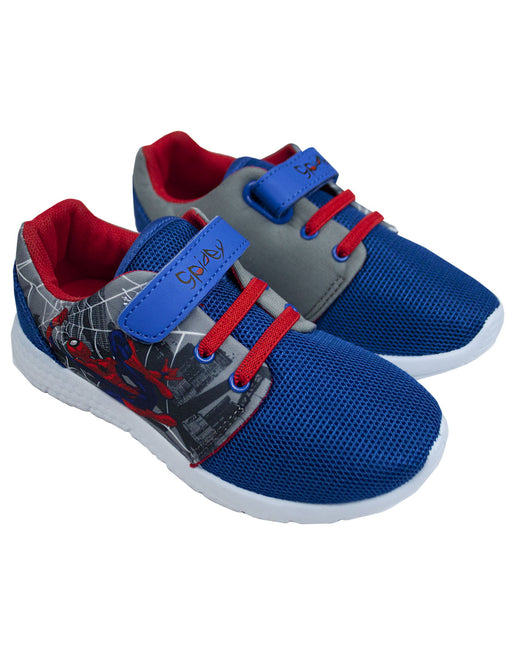 Spider-Man Boy's Kids Casual Grey Blue Trainer Shoes Footwear