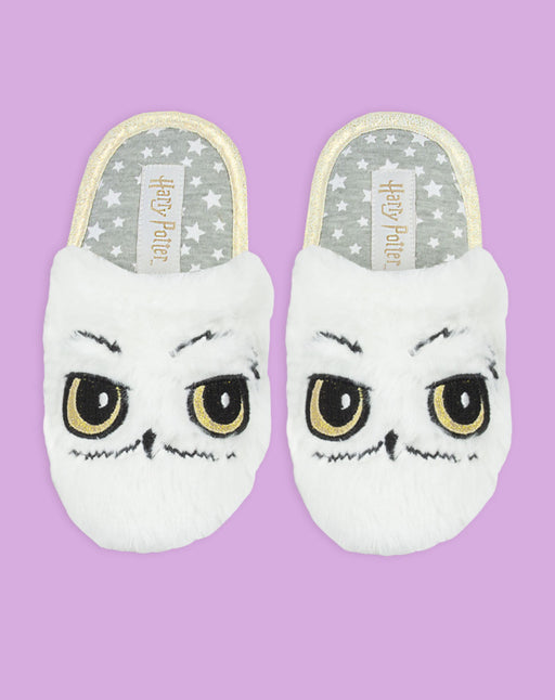 Harry Potter Hedwig Owl White Plush Girl's Slip-On Mule Slippers