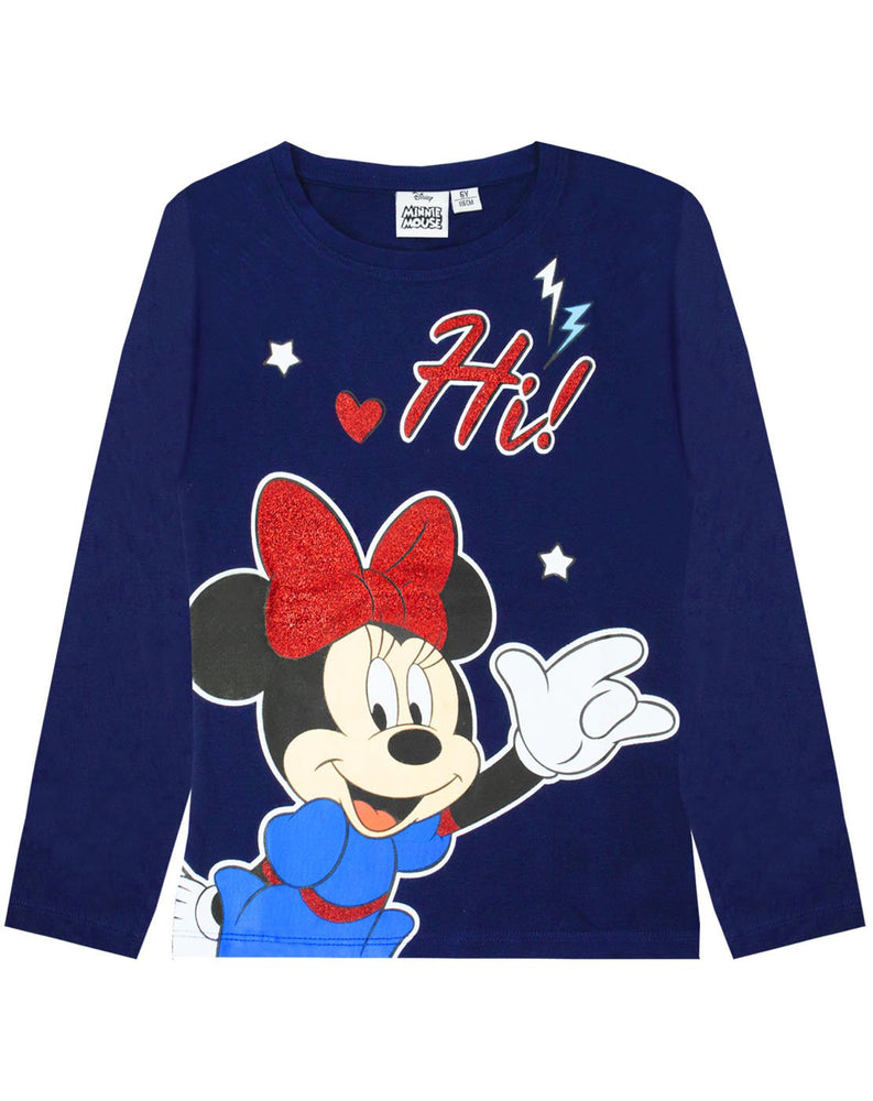 "Disney Minnie Mouse ""Hi"" Glitter Detailed Girl's Novelty Character T-shirt"