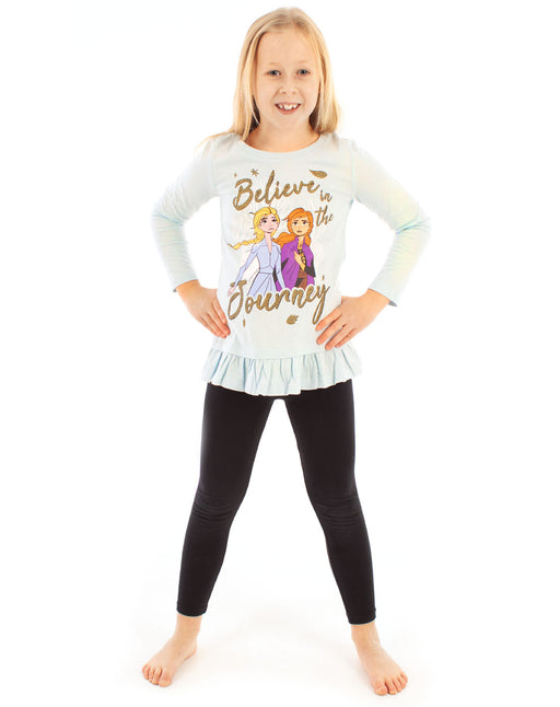 Frozen 2 anna and elsa believe in the journey light blue glittered gold sisters little girls children's kids girly T-shirt tee top long sleeved frill crew neck official merchandise 100% cotton Disney