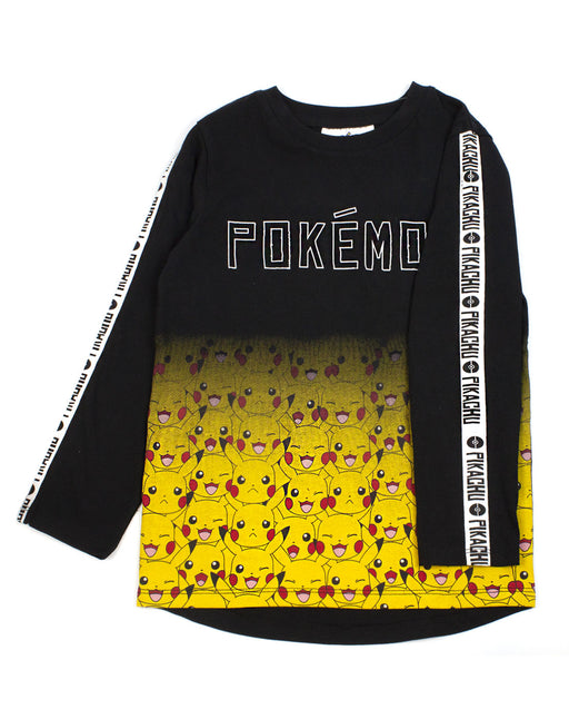 Pokemon Pikachu Fade Long Sleeve Boy's T-Shirt- Black
