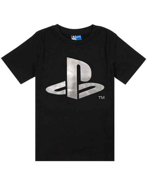 Playstation Foil Logo Print Boy's T-Shirt - Black
