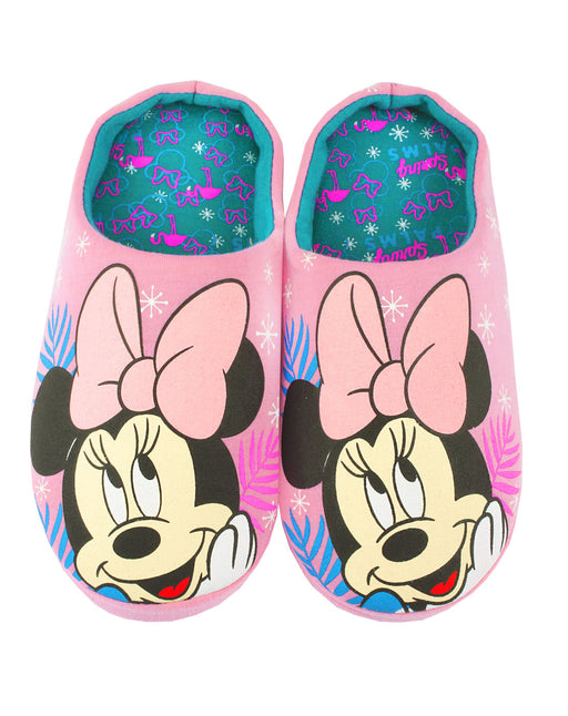 "Disney Minnie Mouse ""Spring Palms"" Girl's Pink Polyester House Slippers"