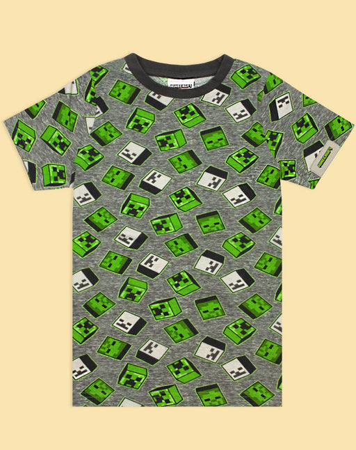 Minecraft All Over Print Creeper Zombies Boy's T-Shirt - Grey