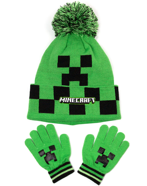 Minecraft Creeper Face Green Woolly Hat and Gloves Set