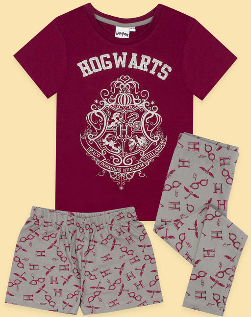 Harry Potter Hogwarts Crest Glitter Print Girl's Long OR Short Leg Pyjamas