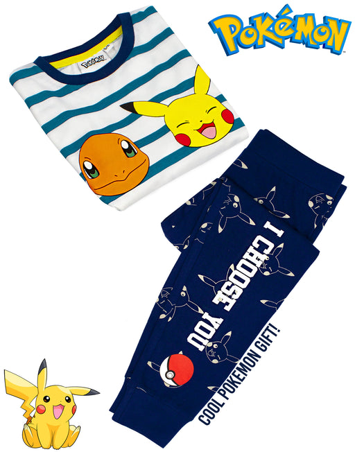 Pokemon Characters Kid's Long Sleeve Pyjamas - Blue
