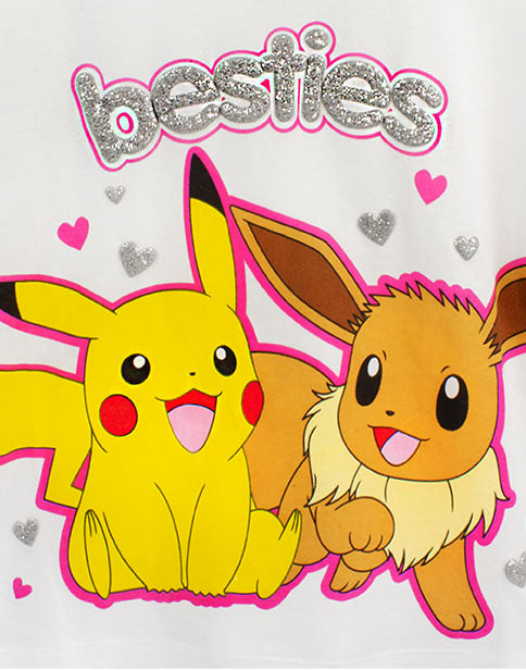 Pokemon Besties Pikachu & Eevee Frill Sleeve Long OR Short Leg Girls Pyjamas
