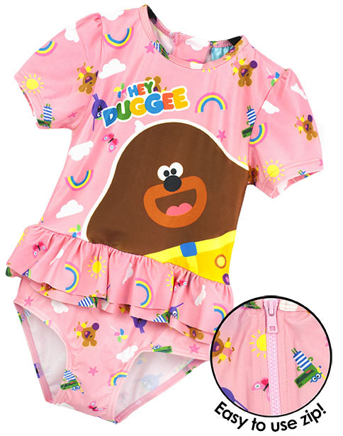 85% POLYESTER & 15% ELASTANE HEY DUGGEE SWIMMING COSTUME FOR GIRLS - The Hey Duggee costume is made from mixed materials for a light, stretchy and comfortable feel perfect for kids summer holidays - especially for kids pool parties, surfing, swimming to sand castle building!