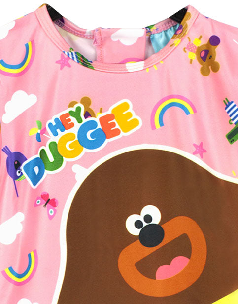 OFFICIALLY LICENSED HEY DUGGEE MERCHANDISE - This girls swimsuit is 100% official Hey Duggee merchandise, to get the most out of this product please be sure to wash the sunsafe swim suit at 40°C, wash with similar colours, wash inside out, rinse well in cold water immediately after use and dry away from direct sunlight!