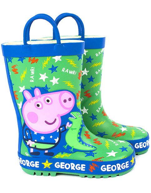 Peppa Pig Wellies Boys & Girls | George Pig & Dinosaur Wellington Boots | Kids Peppa Pig Shoes | Rubber Rain Wellies | Green & Blue Water Resistant Boots