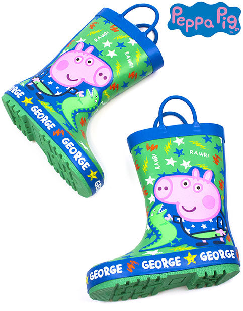 PEPPA PIG GEORGE PIG & DINOSAUR WELLIES - Our adorable George Pig wellies for boys & girls is the perfect way for your little Peppa Pig TV show lovers to have fun on their snow, rain or muddy adventures whilst keeping their feet warm and dry. The blue and green George Pig wellington boots are a great idea as a birthday present and are suitable for children from UK kids sizes 4 UK to 10 UK!