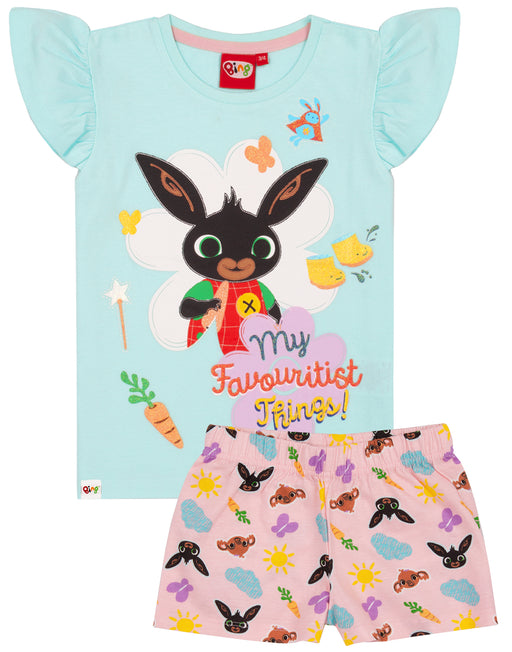 BING BUNNY T SHIRT & SHORTS PYJAMAS - Our Bing pyjamas for kids is perfect for them little girls, who love watching their favourite series, Bing Bunny! The girls glitter pink and blue pyjamas are a great idea as a birthday present or for any special occasion and are suitable for children from sizes 18-24 months to 4-5 years.
