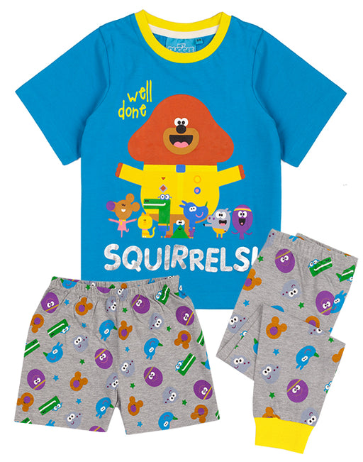 Our Hey Duggee pyjamas for kids and toddlers is available with two options of long or short bottoms. The Hey Duggee pjs are perfect for CBeebies Hey Duggee TV series fans making a cool gift for birthdays, costume parties and all special occasions