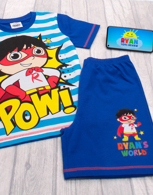 FUN STRIPED POP ART SUPERHERO RYANS WORLD DESIGN - The adorable blue and white striped top features a Pop Art superhero character of the popular Youtube personality Ryan finished with the quote 'POW' making a must have gift for birthdays, Comic Con, Christmas and special occasions.