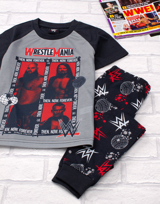 COOL GREY RED WRESTLE MANIA & LOGO PRINT - The bold wrestling pyjamas features the WWE Wrestle Mania TV series wrestling superstars surrounded by text reading 'THEN, NOW, FOREVER' finished with the WWE and WRESTLE MANIA logos making an awesome WWE gift for birthdays, championship awards, Christmas, fancy dress parties and all special occasions.