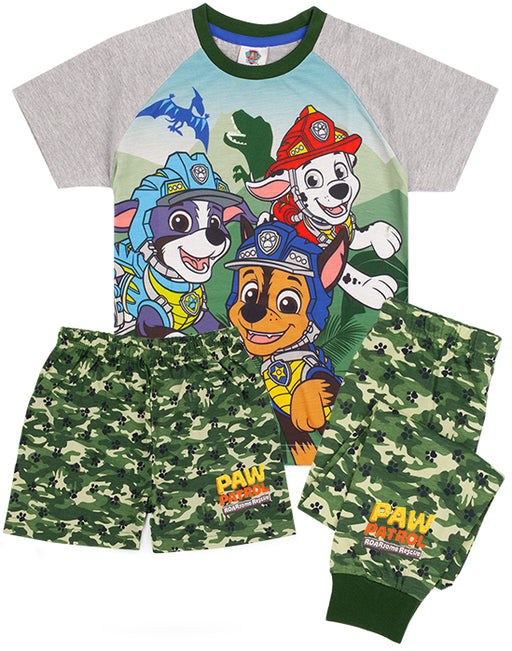 CAMO PAW PATROL T-SHIRT & LONG OR SHORT BOTTOMS PJ SET FOR BOYS – Our Paw Patrol pyjamas for kids and toddlers is available with two options of long or short bottoms. The pjs are perfect for Paw Patrol series, Mighty Pups movie or toy lovers; awesome for birthdays, costume parties and all special occasions.