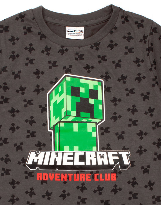 Minecraft Creeper All Over Print Boy's Black T-Shirt - Grey