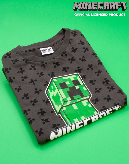 MINECRAFT CREEPER ADVENTURE CLUB PRINT - Awesome Minecraft top features an all over print of the popular villain finished with a vibrant Creeper character print underlined with the Minecraft logo and text reading 'Adventure Club' making an awesome costume outfit for parties and events!
