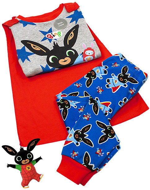 BING BUNNY PYJAMAS WITH RED CAPE FOR BOYS - Our Bing pyjamas for kids is perfect for them little boys and girls, who love watching their favourite series, Bing Bunny! The boys Bing Bunny pajamas with a cool hero cape are a great idea as a Cbeebies birthday present or for any special occasion and are suitable for children from sizes 12-24 months to 6-7 years.