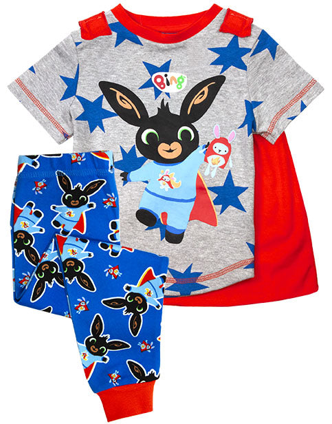 Cbeebies Bing Bunny Pyjamas with Cape -  Boys T-Shirt & PJ Bottoms Set